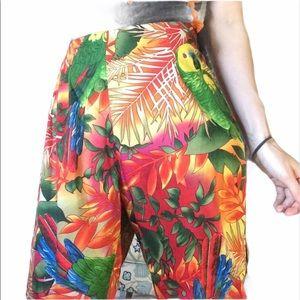 Eric Bright Rainbow Parrot Capris Vacation Pants